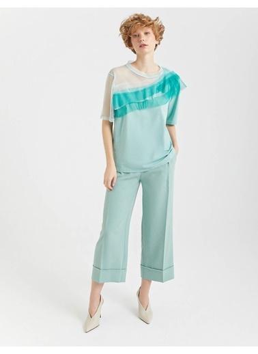 BGN Su Yeşili - Tül Yaka Detaylı Bluz Yeşil